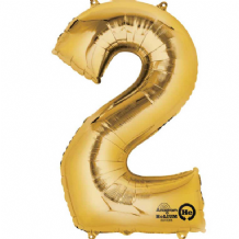 "Gold Number 2 Mini-Foil Balloon (16"" Air) 1pc"